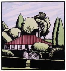 Cornelian Bay Office, colour linocut by Carlton Cox