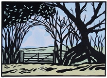 The big orchard - Tasmanian linocut by Carlton Cox