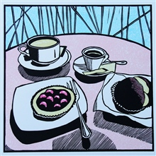 Morning in Spello - colour linocut by Carlton Cox