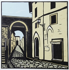 Assisi - colour linocut by Calrton Cox