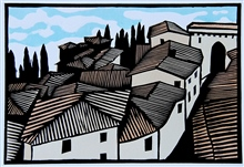 Perugia rooftops - colour linocut by Calrton Cox