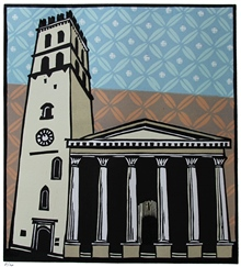Piazza del Comune, Assisi - Colour linocut by Carlton Cox