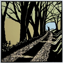 Arrivederci - colour linocut by Carlton Cox