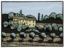 Road to Collepino - colour linocut by Carlton Cox