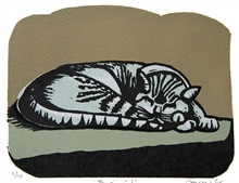 Perigia cat - colour linocut by Carlton Cox
